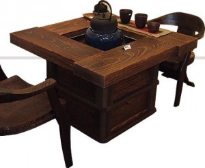 Well-shaped (shaped like a square) IRORI dining table made of Paulownia wood fired on surface