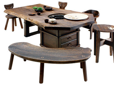 IRORI dining table made of Paulownia wood fired on surface