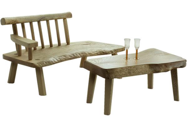 無垢の桐のテーブルベンチ